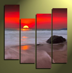 4 piece canvas print, home decor, sunset photo canvas, ocean large pictures, red multi panel canvas
