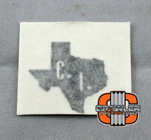 "1x1"" CI scale Texas Black Vinyl Transfer Sticker"
