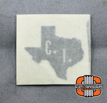 "1x1"" CI scale Texas Silver Vinyl Transfer Sticker"