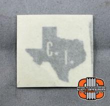 "1x1"" CI scale Texas Silver Vinyl Transfer Sticker"