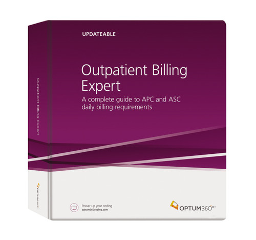 This reference tool is a one-source guide for both hospital outpatient departments (HOPD) and  free-standing ambulatory surgical centers (ASC) billing outpatient claims. Outpatient Billing Expert provides detailed references with payment information and guidance to improve reimbursement and reduce claim denials. This all-in-one resource also provides APC and ASC groups, reimbursement amounts, coverage issues, and information on what is not covered