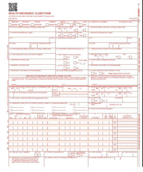 Our form is the official CMS 1500 claim form (new version) 02/12, 125 Count laser. This form is used by non-institutional providers and suppliers to bill Medicare, payers and insurance companies,