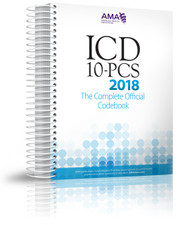 ICD-10-PCS 2018: The Complete Official Codebook contains the complete ICD-10-PCS code set and supplementary appendixes required for reporting inpatient procedures. This illustrated codebook presents the code set in 17 sections of tables arranged by general procedure type. Tables within the extensive Medical and Surgical section are additionally sectioned out by body system, indicated by color-coded page borders.
