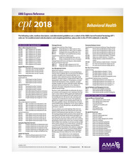 CPT 2018 Express Reference Coding Card, Behavioral Health