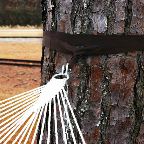 Wide tree straps are gentle on the bark.