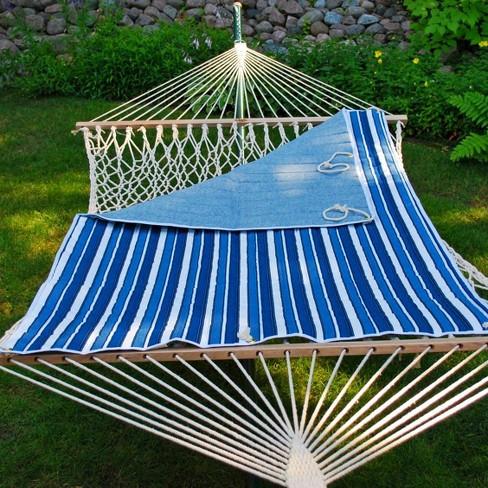 Seaside stripe / Robin egg blue reversible hammock pad.