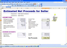 Quickly calculate a Seller's net proceeds by entering a few details of the transaction, and let Excel do the math.  A simple way to offer your seller an accurate estimate of what any offer they are considering will look like at closing.