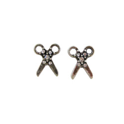 Stud Scissor Earrings Antique Silver