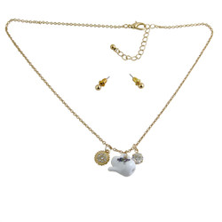 Teapot Charm Necklace Earring Set Gold Tone