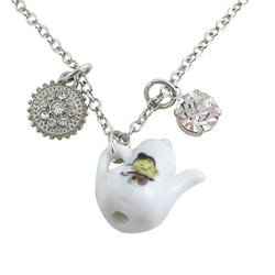 Teapot Charm Necklace Earring Set Silver Tone