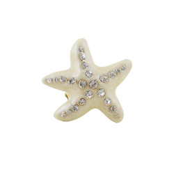 Oversize Starfish Stretch Ring Ivory Bejeweled