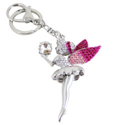 Winged Fairy with Crystal Key Chain Purse Charm Pink (JUST RESTOCKED)