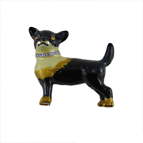 Black Corgi Dog Brooch Pendant