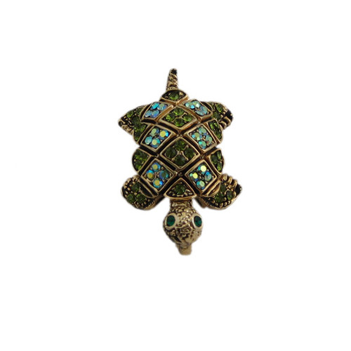 Gold Turtle Pendant/Pin with Green Crystals