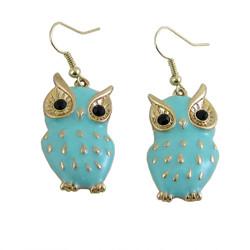 Owl Earrings Baby Blue Enameled