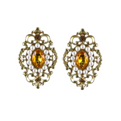 Gothic Lace Earrings Gold