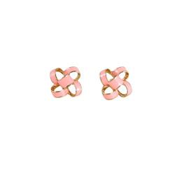 Small Enamel Knot Stud Earrings Pink