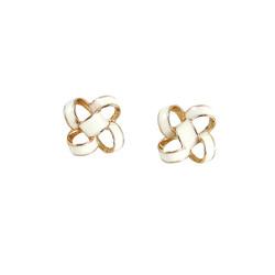 Small Enamel Knot Stud Earrings White