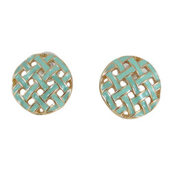 Gold Toned Button Pattern Studs Seafoam Green