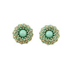 Bead Encrusted Infinity Stud Earring Seafoam Green