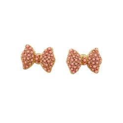 Bead Encrusted Bow Stud Earrings Pink