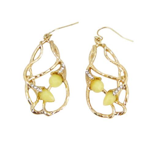 Bohemian Beaded Design Earrings Yellow