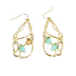 Bohemian Beaded Design Earrings Seafoam Green
