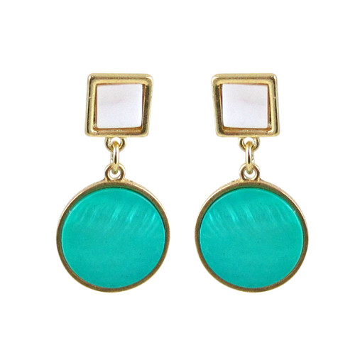 Art Deco Design Earrings Turquoise