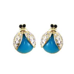 Ladybug Earrings Blue Bejeweled