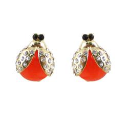 Ladybug Earrings Coral Bejeweled