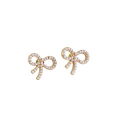 Ribbon Stud Earrings with Faux Pearls