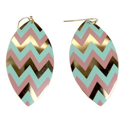 Zigzag Dangling Shield Earrings Pink and Mint