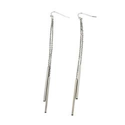 Long Dangling Chain Earrings Silver