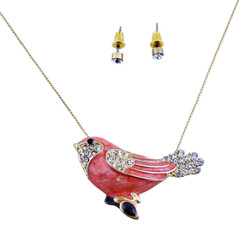 Little Birdy Necklace Earring Set Coral