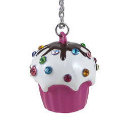 Cupcake Long Chain Necklace Large Pendant Pink