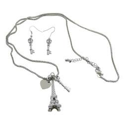 Eiffel Tower Necklace Earrings Set Silver Tone