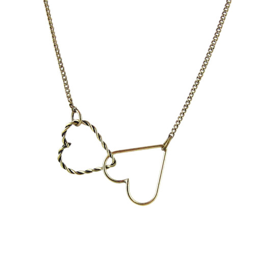 Double Heart Necklace Brass