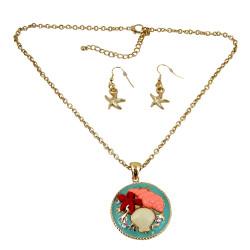 Seashells Necklace Earrings Set Gold Tone Sea Foam Green