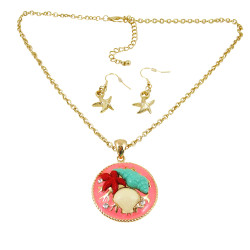 Seashells Necklace Earrings Set Gold Tone Coral