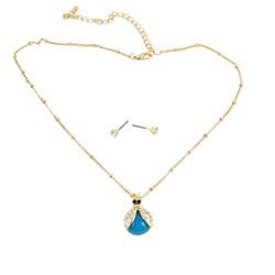 Ladybug Necklace Earrings Set Blue Bejeweled