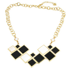 Modern Chess Board Inspired Art Deco Necklace Black