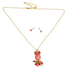 Owl Necklace Earrings Set Coral