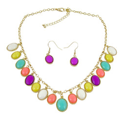 Elegant Oval Statement Necklace Earrings Set Multi Color