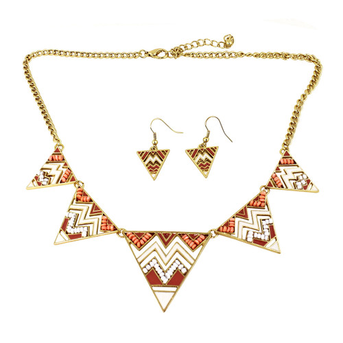 Aztec Inspired Tribal Necklace and Earrings Set Peach and White