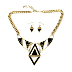 Tribal Royalty Necklace and Earrings Set Gold
