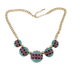Southwestern Inspired Pattern Necklace Turquoise, Pink and Black