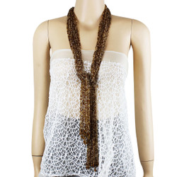 Long Beaded Necklace Brown and Beige