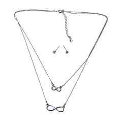 Crystal Eternity Necklace and Earrings Set Silver