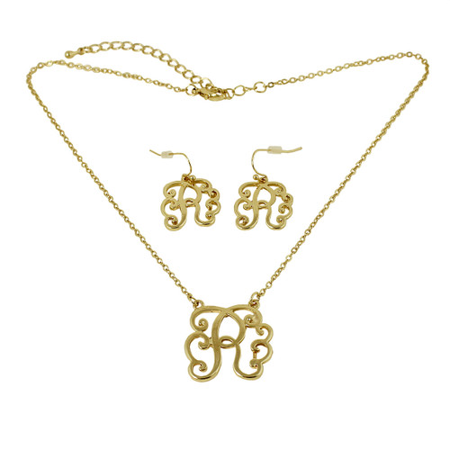 Old Victorian Initial R Necklace and Earrings Set Gold