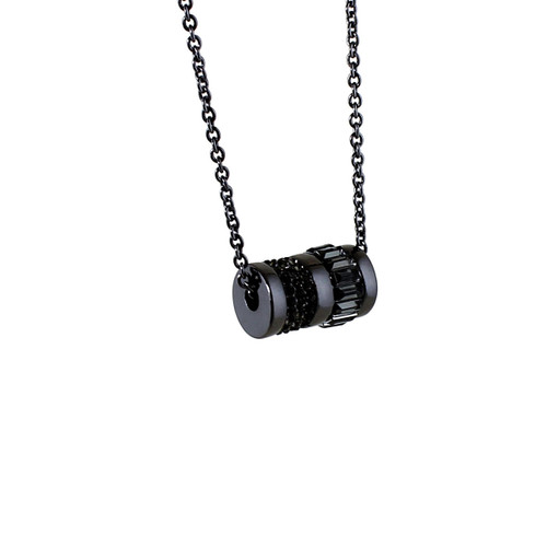 Barrel of Bling Long Chain Necklace and Earrings Black